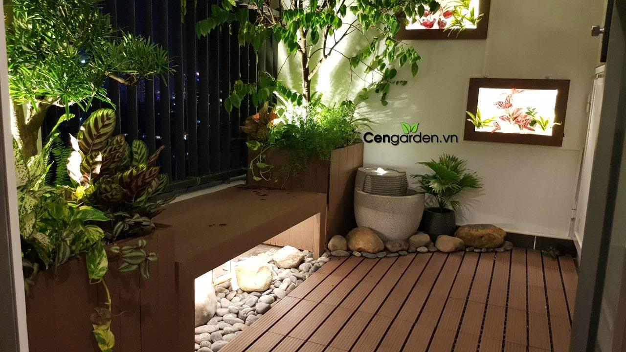 Ban công Nhật bản có đài phun nước