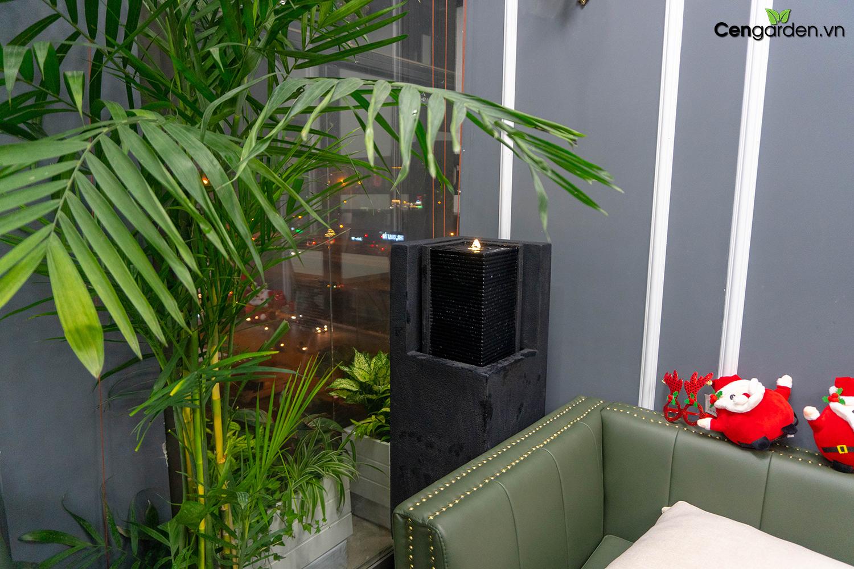 Thiết kế không gian phòng khách có đài phun nước